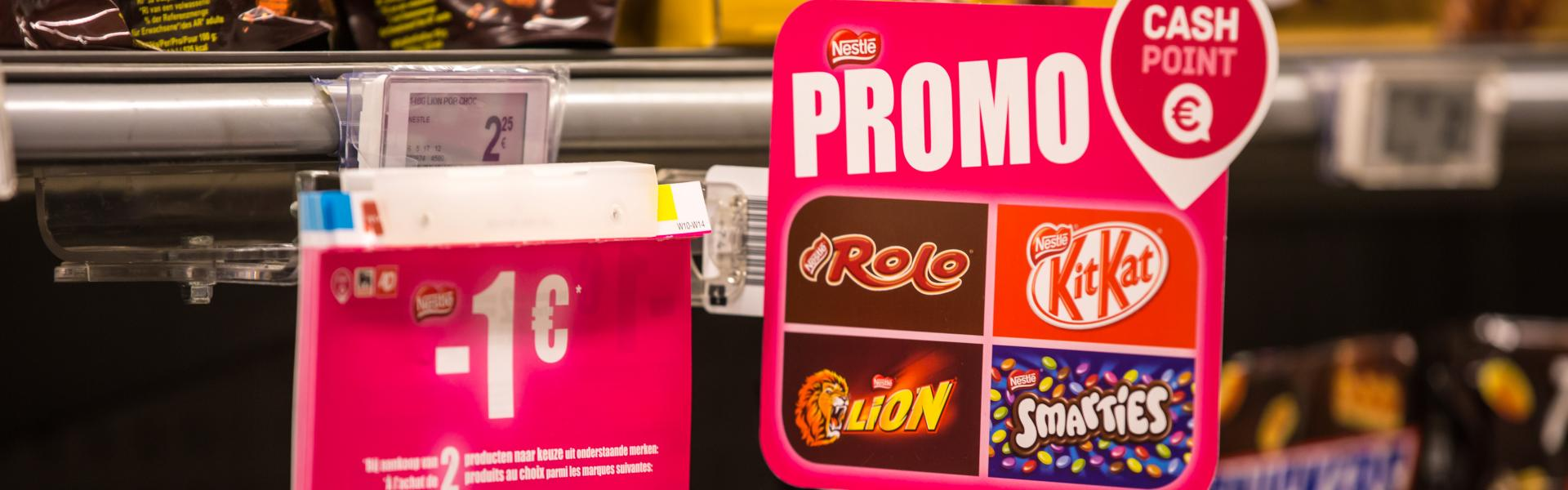 Cash point - reduction - couponing - in-store promotion